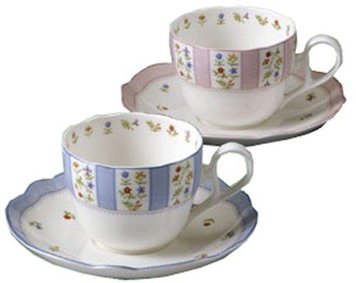 Noritake China Prima True Love Tea And Coffee Porcelain Bowl Plate Pair Set Pink Blue Y6787/9438-24 (Japan Import)