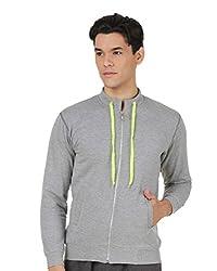4Stripes Men's Causal Fleece Jacket (4SSW003_L_GREY)