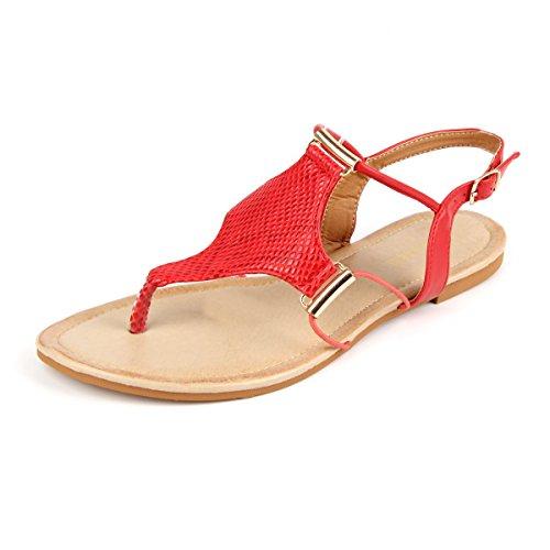 MuDan Women's Strappy Rhinestones Thong Buckle Strap Gladiator Flat Sandals (9 B(M) US, s-Red)