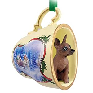 Amazon.com: Miniature Pinscher Red & Brown Tea Cup Sleigh Ride Holiday