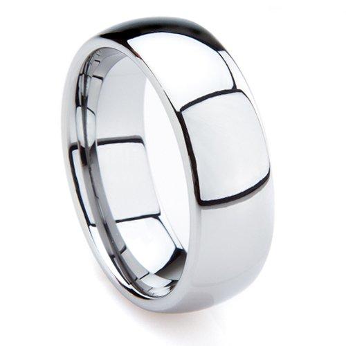 Tungsten Carbide 7MM Men's Plain Dome Wedding Band Ring Sz 7.5