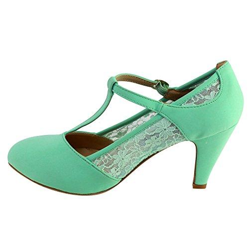 Beston CD49 Women's Mid Heel Round Toe Lace T-Strap Dress Pumps 3
