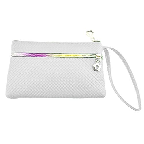 HuntGold 1X Women Portable PU Leather Wallet Double Zipper Weave Coin Purse Phone Clutch Bag(white)