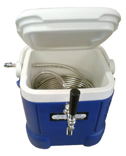 HBS-JB003 Homebrewstuff Mini Jockey Box Draft Beer Dispenser Stainless Steel Coil Chiller, Blue (Home Brew Cooler compare prices)