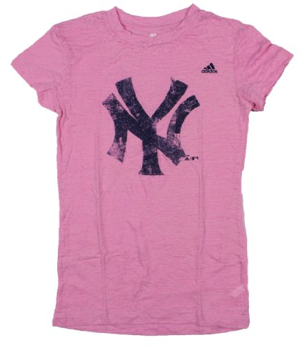 Mlb Youth New York Yankees Short Sleeve Pink Distressed Logo By Adidas front-950163