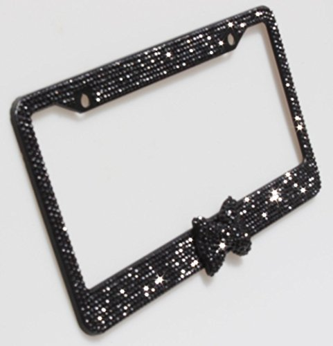 Carfond 8 Row Bling Bling Rhinestones Aluminium License Plate Frame With Black Bow Tie Bonus 2 Matching Screws & Caps Black/Black Bowtie (License Plate Frame Space compare prices)