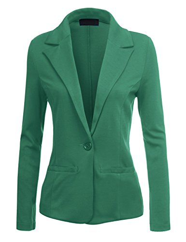 [BEKDO Womens Classic Fitted Boyfriend Blazer Jacket with Stretch-S-GREEN] (Daria Costume)
