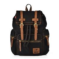 CLELO Vintage Canvas Leather Schoolbag Laptop Backpack Rucksack
