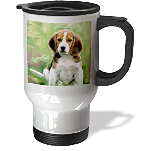 3dRose Beagle Puppy Stainless Steel Travel Mug, 14-Ounce