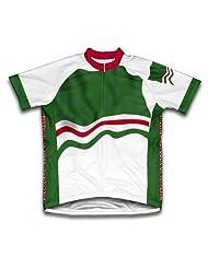Chechen Republic Flag Short Sleeve Cycling Jersey for Women