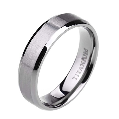 6mm Unisex Titanium Ring Flat Matte Brushed Beveled Edge Wedding Band Comfort Fit Size 4-13 (titanium, 8)
