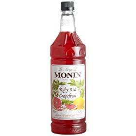 Monin Flavored Syrup, Ruby Red Grapefruit, 33.8-Ounce Plastic Bottle (1 liter) by Grapefruit
