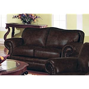 Loveseat Sofa Nail Head Trim Dark Burgundy Leather