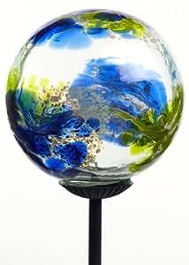 Kitras Webbed Glass Solar Light Glass Ornament, Multi/Blue