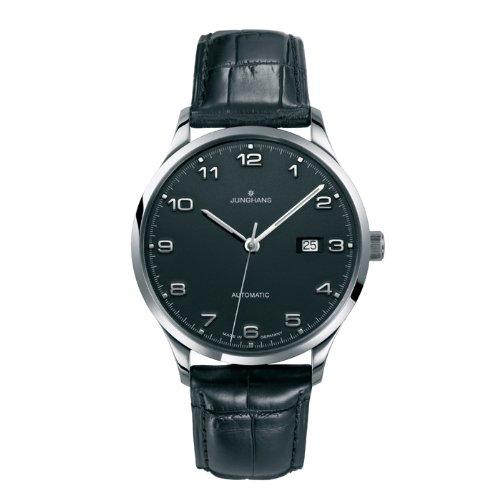 Junghans 027/4742.00 - Reloj analógico automático para hombre, correa de cuero color negro