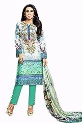 Lebaas Pasmina Digital Printed Multi and Aqua Salwar Suit Dupatta Material(Un-stitched)