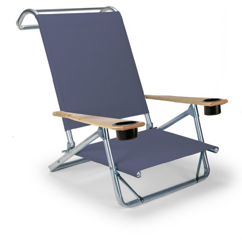 Telescope Casual Original Mini-Sun Chaise Folding Beach Arm Chair with Cup Holders, Navy
