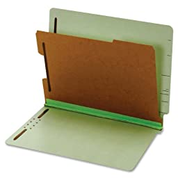 Globe-Weis/Pendaflex End Tab Classification Folders, Letter Size, 1 Divider, Embedded Fasteners, Light Green, 10-Count (23214)