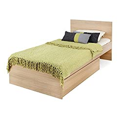 Forzza Claire Single Size Bed with Storage (Matte Finish, Teak)