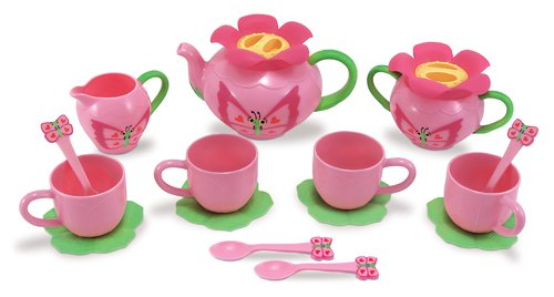 2 Item Bundle: Melissa & Doug 6181 Bella Butterfly Pretend Play Tea Set + Free Activity Book