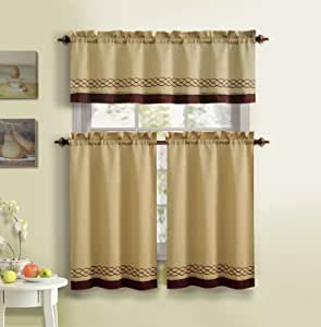 3 Piece Kitchen Curtain Set 1 Valance 2 Tiers Solid Colors Rod Pocket Design