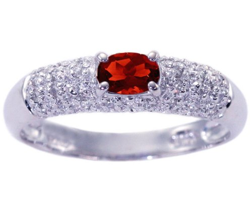 14K White Gold Petite Oval Gemstone and Diamond Promise Ring-Garnet, size7.5