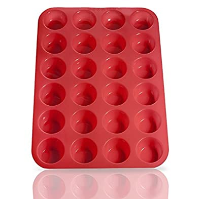 Silicone Mini Cupcake Pans, 24 Cup, Microwave & Dishwasher Safe