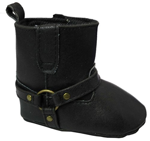 Rising Star Crackle Pu Black With Sliver Ring Bootie 6-9 Months [3012]