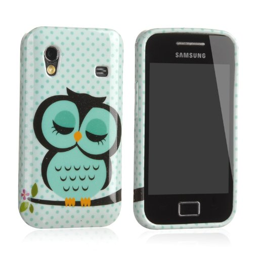 Vandot 2In1 For Samsung Galaxy Ace S5830 S5830I S5839I Soft Tpu Silicone Back Case Cover Protection Skin Shell Night Owl Polka Dot + 1X Stylus Touch Pen (Flexible Color)- Green White Cute Cartoon front-1025393