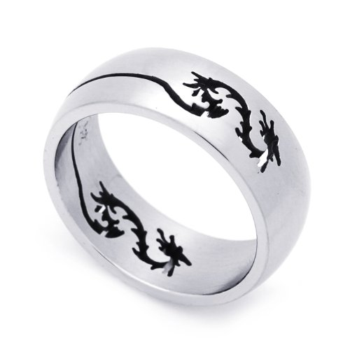 8MM Stainless Steel Cut-Out Dragon Domed Wedding Band Ring (Size 8 to 14) Size 13