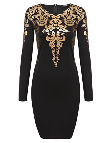 ACEVOG Women's Long Sleeves Gold Foil Print Vintage Cocktail Dresses, Large, Black
