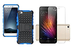 Combi Offer - Hi-Gear Tough Hybrid Back Cover Case with Kickstand for Xiaomi Mi 5 - Blue Color & Hi-Gear Premium Tempered Glass Screen Protector Skin Cover for Xiaomi Mi 5