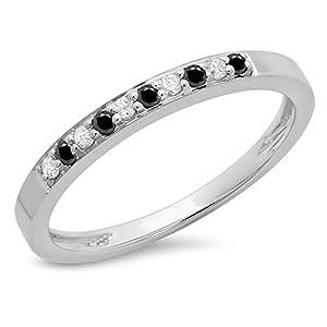 0.15 Carat (ctw) 10K White Gold Black & White Diamond Ladies Anniversary Band Stackable Ring (Size 5.5)