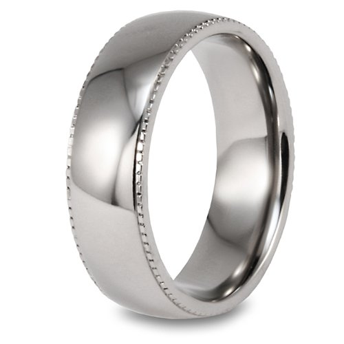 Millgrain Edge Domed High Polished Titanium Ring (7mm) - Size 12.0
