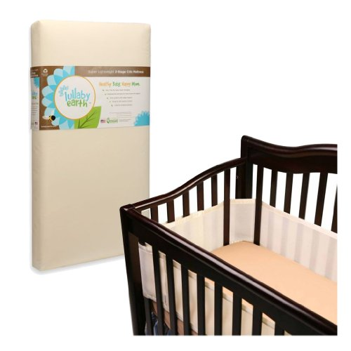 Lullaby Earth Super Lightweight 2 Stage Crib Mattress With Breathable Baby Crib Bumper, Ecru back-959091