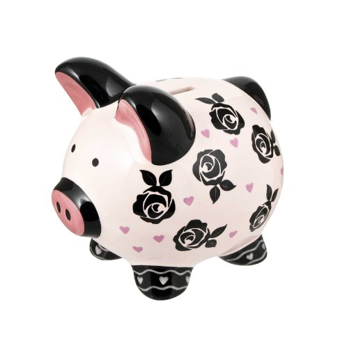 Ganz Floral Piggy Bank with Roses - 1