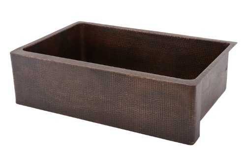 Premier Copper Products KASDB33229 33-Inch Copper Hammered Kitchen Apron Single Basin Sink, Oil Rubbed Bronze
