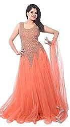 Sanjana Design Women's Net Gown (KS1101_FreeSize_Orange net gown)