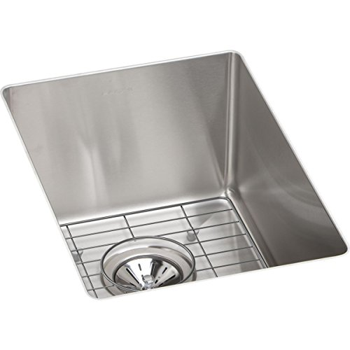 Elkay ECTRU12179DBG 18-Gauge Stainless Steel 13.5-Inch X 18.5-Inch X 9-Inch Single Bowl Undermount Bar/Prep Sink Kit, Polished Satin (18 Gauge Stainless Steel Pot compare prices)