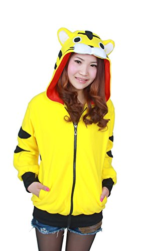 Mwfshop Unisex Cosplay Costumes Plush Animal Hoodie Suits Jacket Tiger Yellow