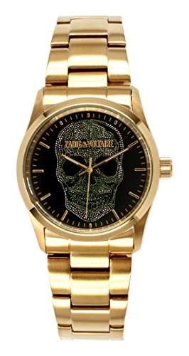 Zadig & Voltaire ZV 029/1AM Rock Unisex Watch Analogue Quartz Black Dial with Golden Steel Plated Strap