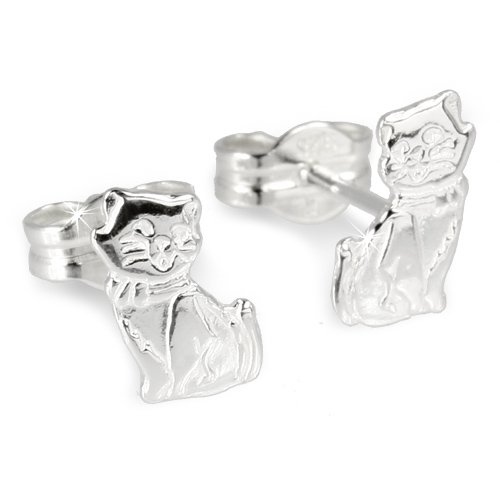 SilberDream earring cat 925 Sterling Silver SDO512
