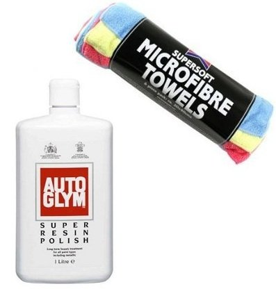 Car Polishing Kit - 1lt Autoglym Super Resin Polish & Kent 6 Microfibre Towerls