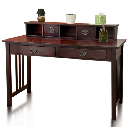 Mission Espresso Solid Wood Writing Desk Home Office Computer Desk