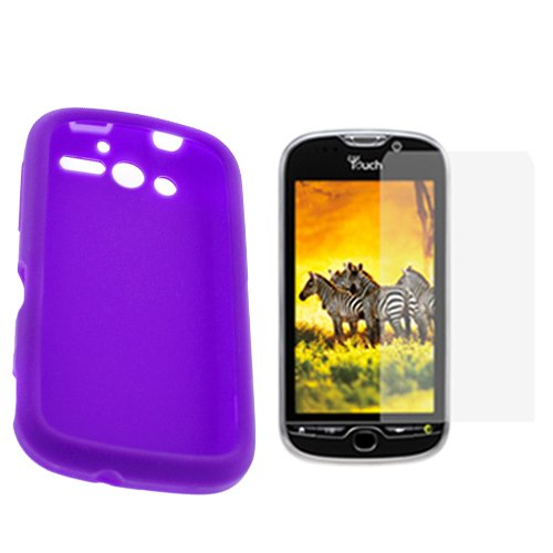 GTMax 2 Pieces-Purple Silicone Skin Soft Case+LCD Screen Protector For HTC MyTouch 4G Cell Phone