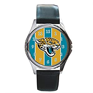 Time Walker Men's Easy to Read NFL Jacksonville Jaguars Crocodile Faux Leather Black Analog Watches