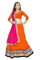 Pushty Fashion Orange and Pink Net and Silk Bordered work Lehenga