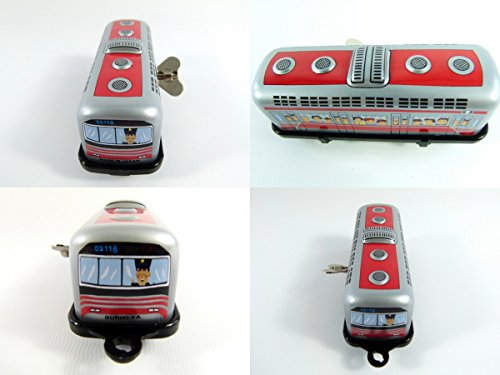 Wind up Red Tram Small Tin Toy Train from Japan
