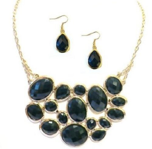 Navy Blue Geometric Raindrop Bib Bubble Necklace And Earring Set For Women