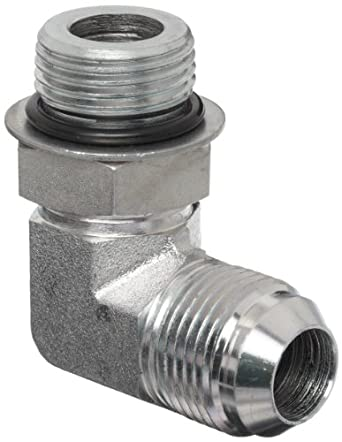 Dixon 1238 Series Zinc Plated Steel Hydraulic Pipe Fitting, 90 Degree Elbow, Male SAE O-ring Boss x Male SAE Screw